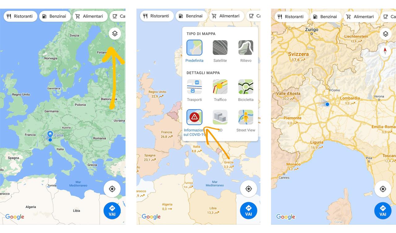 Informazioni diffusione COVID-19 su Google Maps